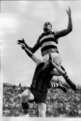Farmer leaps for a mark in 1967.