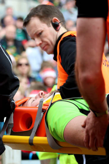 Northampton Saints captain Rob Horne is stretchered off.