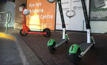 Some 1000 e-scooter rideshares are scattered around Brisbane.