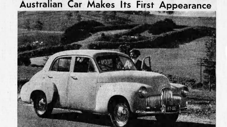 The new Holden pictured in the Dandenongs in 1948.