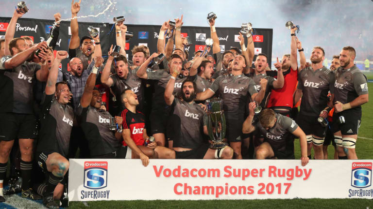 Reigning champions: The Crusaders celebrate after winning the 2017 Super Rugby final against the Lions at Ellis Park. The Christchurch franchise has managed to win the competition across different formats.