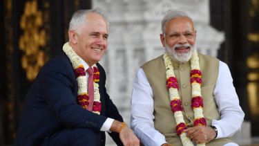 Prime Minister Malcolm Turnbull and India's Prime Minister Narendra Modi pictured last year.