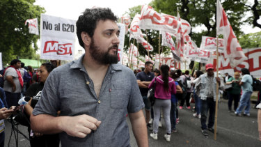 Federico Moreno, from the Socialist Movement of Workers, protesting against the G20 iin Buenos Aires.