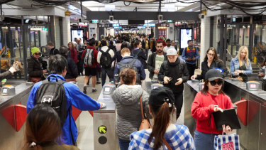Stations such as Town Hall in Sydney's CBD are under pressure from a surge in rail passengers.