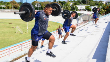 Hard yakka: The Wallabies are put through the ringer at their training camp in New Caledonia.