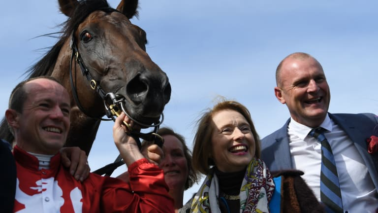Cup hopes: Stephen Baser and Gai Waterhouse with  Runaway after the Geelong Cup.