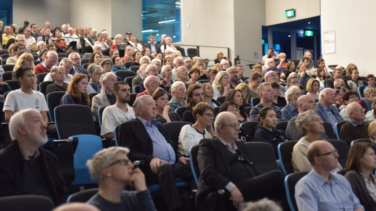 The audience at the Melbourne launch of <i>Sunburnt Country</i>.