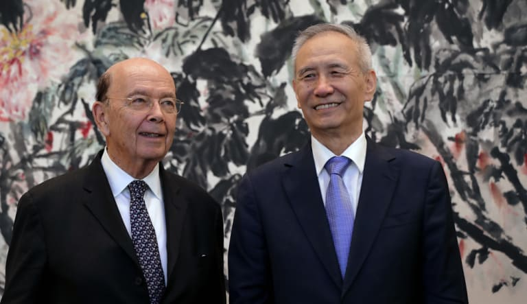 US Commerce Secretary Wilbur Ross and China's Vice Premier Liu He. The US envoy left Beijing with no clear sign that the two countries could avert a trade war.