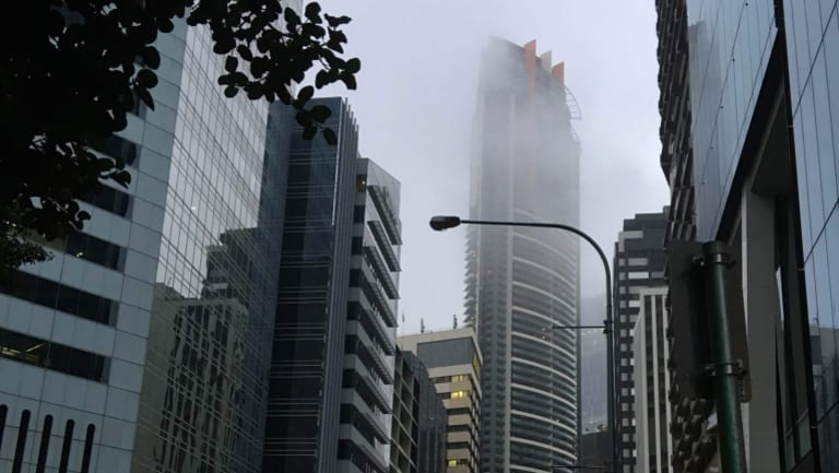 As early fog lifts in Brisbane, the bureau predicts a very high chance of showers for Boxing Day afternoon.