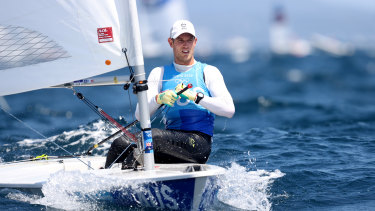 Matt Wearn firmed as Laser gold medal favourite after an outstanding day at Enoshima.