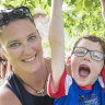 Lucas, 7, can't stand, walk or sit, but he's training for a TRYathlon