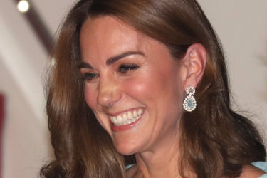 RAWALPINDI, PAKISTAN - OCTOBER 14: Catherine, Duchess of Cambridge smiles as she arrives at Kur Khan airbase with Prince William, Duke of Cambridge ahead of their royal tour of Pakistan on October 14, 2019 in Rawalpindi, Pakistan. (Photo by Chris Jackson/Getty Images)