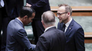 President of Indonesia Joko Widodo meets with Greens leader Adam Bandt after his address to Parliament on Monday.