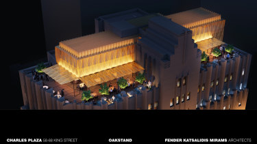 Renders of the proposed rooftop bar at 66 King Street, Sydney.