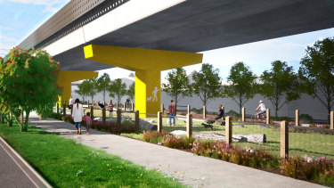 A illustration of a dog park under the new Coburg skyrail.