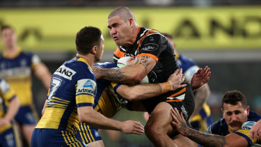 Russell Packer charges into the Eels defence earlier in the year.