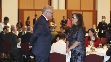 Prime Minister Scott Morrison and Sex Discrimination Commissioner Kate Jenkins at the International Women's Day parliamentary breakfast.
