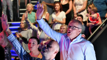 Prime Minister Scott Morrison at Horizon Church on Easter Sunday in 2019.