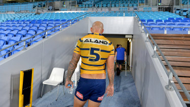 Blake Ferguson heads up the tunnel after Sunday's Eels-Titans match, the last in the NRL for the foreseeable future.