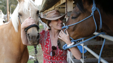 Leanne Waters with her evacuated horses.