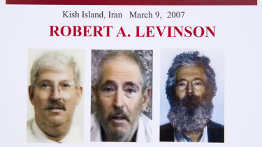 An FBI poster showing how former agent Robert Levinson would look like after five years in captivity. A federal US judge held Iran responsible for the kidnapping in 2012.