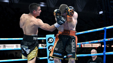 Tim Tszyu lands a punch on Jeff Horn.