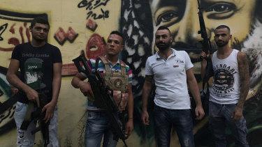 Fatah soldiers (L to R) Atui, Abu Raban, Obeida and Raleb in the Fatah area of Ain al-Hilweh.