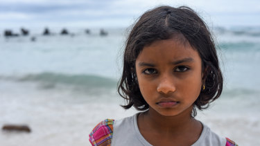 Sri Lankan refugee Sajeenthana, eight, who was detained on Nauru for five years before being medically evacuated to Brisbane.