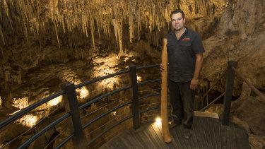 Josh Whiteland of Koomal Dreaming inside Ngilgi Cave.