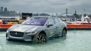 Jaguar's I-Pace was unveiled during the Invictus games, as a storm drenched Sydney.