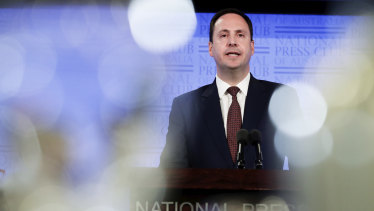 Trade Minister Steven Ciobo at the National Press Club on Wednesday.