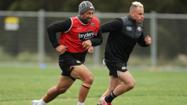 Benji Marshall training with Josh Reynolds.