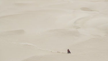 Isolation: One-time winner Toby Price navigates the Dakar Rally.