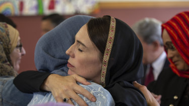Prime Minister Jacinda Ardern meets with members of the Christchurch Muslim community.