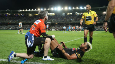 Viliame Kikau injured his hamstring against the Sharks, with the Penrith trainer calling for the game to be stopped.