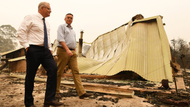 Prime Minister Scott Morrison and Gippsland MP Darren Chester tour fire destruction in Victoria.