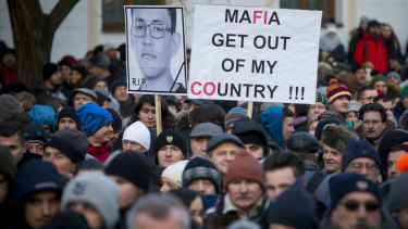 Protesters in Bratislava march in memory of murdered Slovakian journalist Jan Kuciak.
