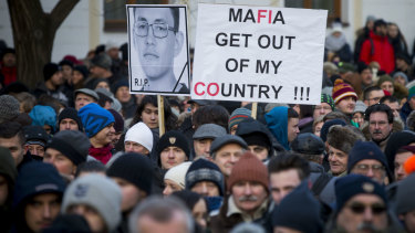 Protesters in Bratislava march in memory of the murdered journalist.