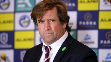 Nonplussed: Manly coach Des Hasler after Saturday's defeat to the Eels.