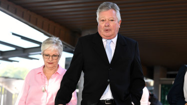 Christopher Betts' parents, Rae and Colin Betts, outside court on Monday.