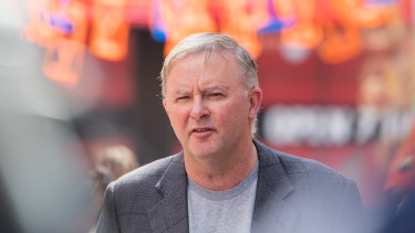 Labor leader Anthony Albanese speaks in Sydney's inner west on Sunday.