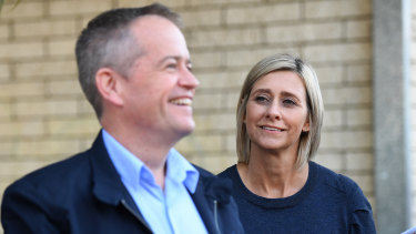 Labor leader Bill Shorten and the party's candidate for the seat of Longman Susan Lamb  outside a polling booth in Caboolture, north of Brisbane, on Saturday morning.