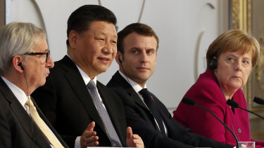 Angela Merkel, Emmanuel Macron, Xi Jinping and Jean-Claude Junker had a telling exchange in 2019.