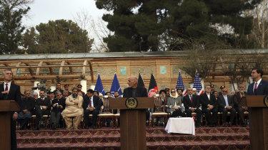 Afghan President Ashraf Ghani, centre, US Secretary of Defence Mark Esper, right, and NATO Secretary General Jens Stoltenberg, left, speak at a joint news conference in Kabul, Afghanistan.
