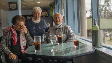 "Lorraine Costelow (left), her husband Len and friend Anne have a final drink at the ""friendly"" club."