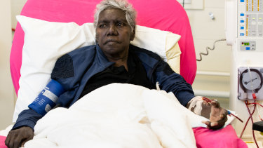 Gundimulk Wanambi Marawili gets dialysis treatment at Purple House in Alice Springs.