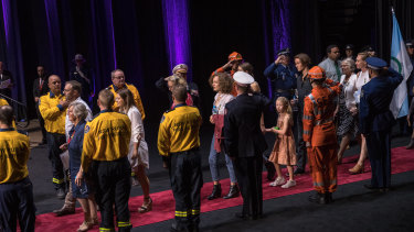 A guard of honour for the families of victims from the bushfires this season.
