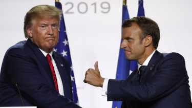 Donald Trump and Emmanuel Macron on the final day of the G7 summit.