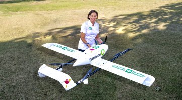 Swoop Aero's drone ready for flight from Lucy Walker's pharmacy in Goondiwindi.