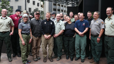 The 21 firefighters from the US in Sydney on Sunday.